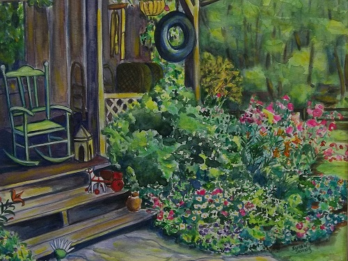 Susan Irving A COUNTRY PORCH watercolour 19 x 23 framed $250