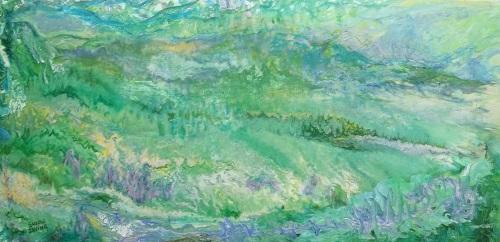 Susan Irving ACROSS THE FIELDS acrylic 18 x 36